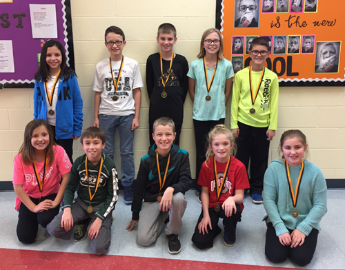 Nashport's Spelling Bee Winners  Back L to R:         Lahney Searls, Zayne Andzelik, Zach Hollingshead, Abby Kopcho, Christopher Garbrandt Front L to R:        Abby Searls, Eric Timm, Ayden Schultheis, Gwyn Dal ponte, Alivia Sims