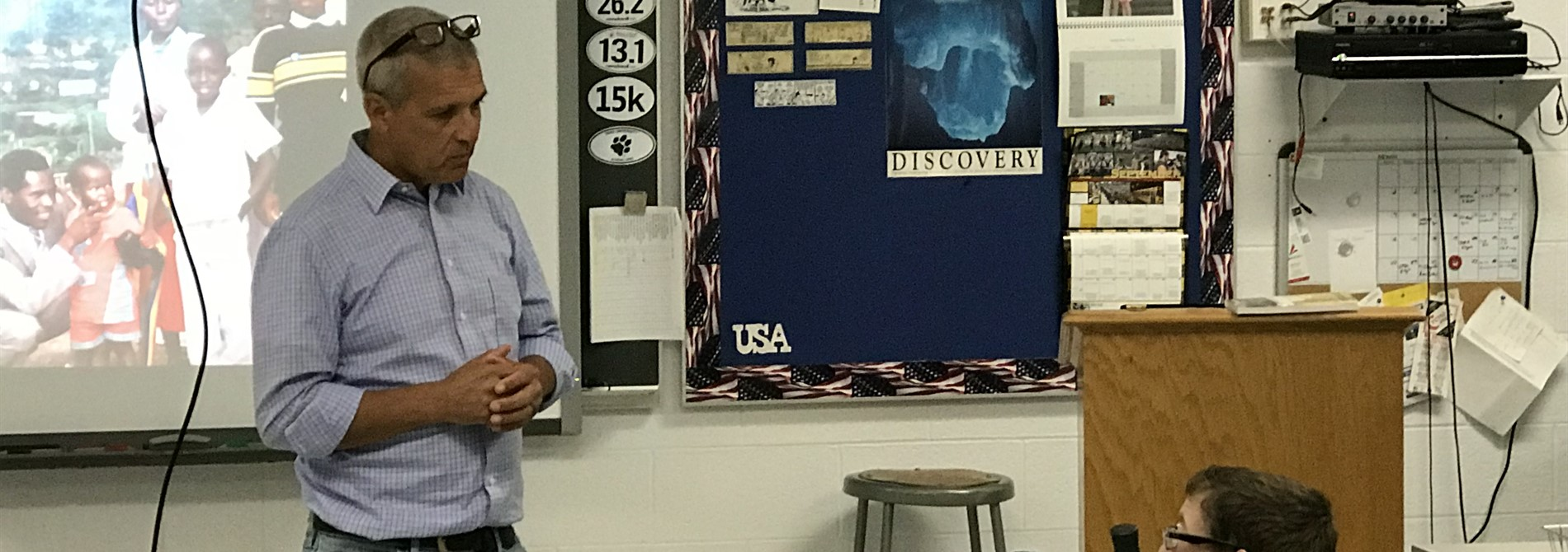 Carl Wilkins, the only American who remained on the ground during the Rwanda Genocide, speaks with the Holocaust class about his experiences.