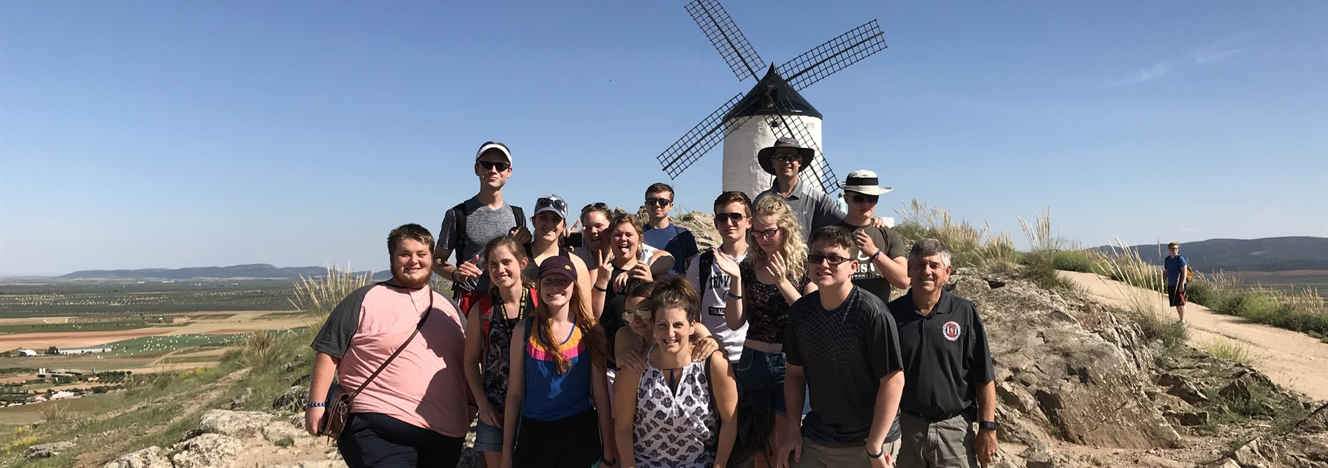 Students, traveling with Mr. Sims, visit the windmills that inspired Miguel de Cervantes's story of Don Quixote.
